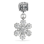 Bling Jewellery 925 Silver Crystal Christmas Snowflake Dangle Bead Fits Pandora
