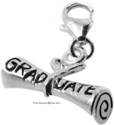 1.1g Solid .925 Sterling Silver Graduation Scroll Charm/Pendant with Anti-Tarnish Protection - FREE GIFT BOX