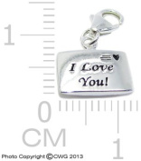"""1.5g Solid .925 Sterling Silver """"I Love You"""""""" Envelope Charm/Pendant - Anti-Tarnish/Epoxy Colour & Black Inlay"""
