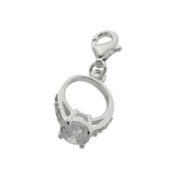 Diamond Ring Cubic Zirconia (CZ) Clip-On Charm - 925 Sterling Silver - Thomas Sabo Style Charm - Cute Ring Charm