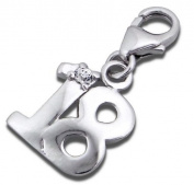 Sterling Silver 18th Birthday Clip on Charm with CZ Crystal Stone - Appx. 11mm x 11mm - Supplied in Box