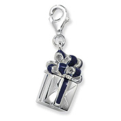 Navy & Silver Enamel GIFT BOX / PRESENT BOX Clip-On Charm - 925 Sterling Silver - Thomas Sabo Style
