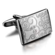 Justeel Men Rhodium Plated Cufflinks Silver Vintage Pattern Wheel Shirt (with Gift Bag) (Width