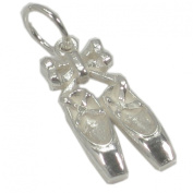 Ballet shoes Sterling silver charm .925 x 1 Ballerina shoe Charms BJ2038