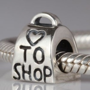 Love To Shop - Shopping Bag - Sterling Silver Charm Bead - fits Pandora, Chamilia etc style Bracelets - SpangleBead