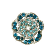 Vintage Style Turquoise & Aqua Silver Scarf Clip