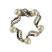 Garland Pearl and Clear Crystal Scarf Clip