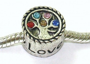 Love / Family Tree / Rainbow Crystal - Silver Plated Charm Bead - fits Pandora, Chamilia etc style Bracelets - SpangleBead