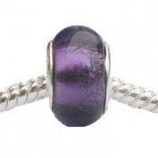 1 x Shimmering Purple Glass Foil Charm Bead will fit Pandora/Troll/Chamilia Style Charm Bracelets, slide on slide off.