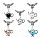 Charming Bead Store Finest Quality Silver-Plated Faux Pearl Family Teapot Charms For Bracelets