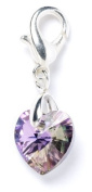 Sterling Silver Lilac. Element Crystal Heart Clip on Charm for Charm Bracelets - SAC039