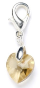 Sterling Silver Gold Shadow. Element Crystal Heart Clip on Charm for Charm Bracelets