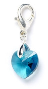 Sterling Silver Blue Zircon. Element Crystal Heart Clip on Charm for Charm Bracelets