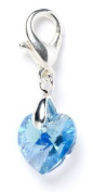 Sterling Silver Aqua. Element Crystal Heart Clip on Charm for Charm Bracelets
