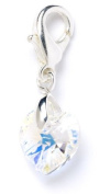 Sterling Silver CrystalAB. Element Crystal Heart Clip on Charm for Charm Bracelets