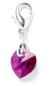 Sterling Silver Fuschia. Element Crystal Heart Clip on Charm for Charm Bracelets