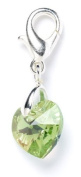 Sterling Silver Peridot. Element Crystal Heart Clip on Charm for Charm Bracelets