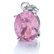 Ladies Rhodium Plated Oval Stone (Pink) Charm