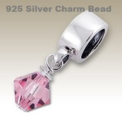 Pink Crystal Dangle 925 Silver Charm Bead for Charm Bracelets