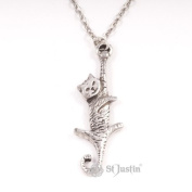 Dangling Cat Pewter Pendant -by St.Justin #PN795