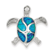 Sterling Silver Blue Inlay Created Opal Turtle Pendant - JewelryWeb