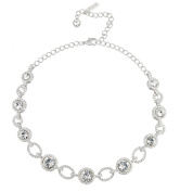 Gemini London Jewellery's Detailed Circle Link. Crystal Necklace - Made with. Crystals, Nickel Free, Rhodium Plated Silver Finish.