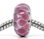 Believe Beads ©1 x Black and Pink Glass Silver Plated Core Charm Bead for Pandora/Troll/Chamilia Style Charm Bracelet.