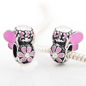 Believe Beads © 1 X Pink Flower Fairy with Clear Stone Charm Bead fits Pandora/Troll/Chamilia style Bracelets