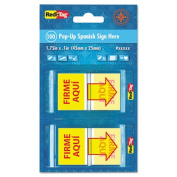 """Spanish Page Flags in Pop-Up Dispenser, """"FIRME AQUI"""", Red/Yellow, 100/PK"""