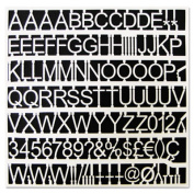 """White Plastic Set of Letters, Numbers & Symbols, Uppercase, 1"""" Dia."""