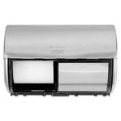 Compact Horizontal 2-Roll Tissue Dispenser, Stnlss Steel, 10 1/8 x 6 3/4 x 7 1/8