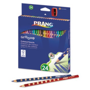Prang Groove Coloured Pencils, Assorted, 3.3mm, 24-Pack