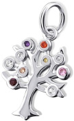 Genuine 925 Sterling Silver Tree Charm with CZ Stones - FREE GIFT BOX
