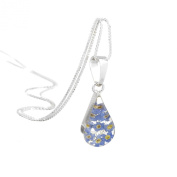 Silver teardrop pendant made with real forget-me-nots - includes an 46cm silver chain & giftbox