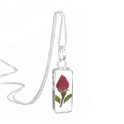 Sterling silver rectangle pendant with a real miniature rose bud - includes an 46cm silver chain & giftbox