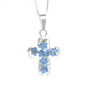 Silver cross pendant made with real forget-me-nots - includes an 46cm silver chain & giftbox