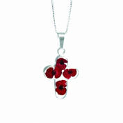 Silver Pendant made with real flowers - Poppy - Med Cross- includes an 46cm silver chain & giftbox
