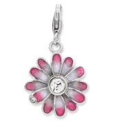 Sterling Silver Enamelled Flower With Lobster Clasp Charm - JewelryWeb