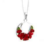 Silver Pendant - Poppy - Double Round - includes an 46cm silver chain & giftbox