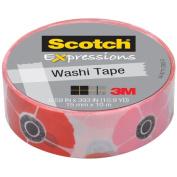 3M C314-P18 Washi Tape . 59 inch x 393 inch - 15mmx10m -Poppy