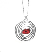 Silver Pendant made with real flowers - Poppy - Spiral - includes an 46cm silver chain & giftbox