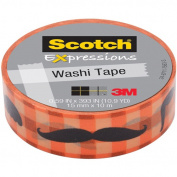 3M C314-P8 Washi Tape . 59 inch x 393 inch - 15mmx10m -Moustache