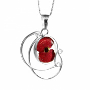 Silver Pendant - Poppy - Swirl - includes an 46cm silver chain & giftbox