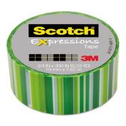 Scotch Expressions Magic Tape, 1.9cm x 760cm , Green Lines