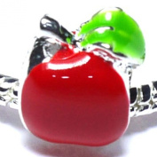 Apple / Red Enamel - Silver Plated Charm Bead - fits Pandora, Chamilia etc style Bracelets - SpangleBead