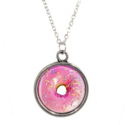 Silver Plated Chain Necklace with Iced Donut Design Pendant