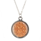 Silver Plated Chain Necklace with Digestive Biscuit Design Pendant