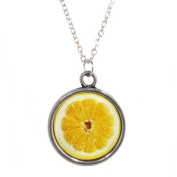 Silver Plated Chain Necklace with Orange Slice Design Pendant