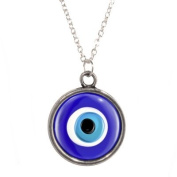 Silver Plated Chain Necklace with Protection Evil Eye Shades of Blue design Pendant