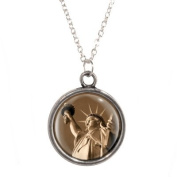 Statue of Liberty Design Pendant on Silver Plated Chain Necklace in Gift Box